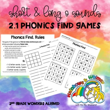 Phonics Find for Short & Long O Sounds (aligned to Wonders 2.1 - Unit 2 Week 1)