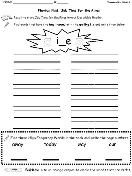 Phonics Find for Treasures Decodable Reader U3 W2