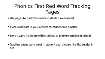 Phonics First Layers 1-4 Red Word Trackers