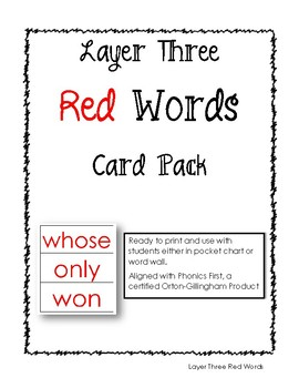 Phonics First: Layer Three Red Words Card Pack