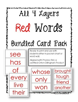 Phonics First: Layers 1-4 Red Word Bundled Card Pack