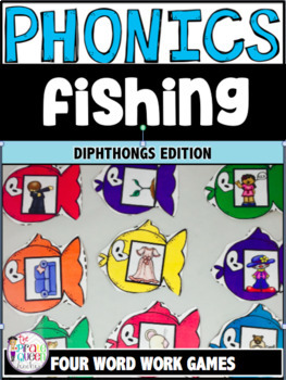 Phonics Fishing: Four Diphthong Word Work Centers