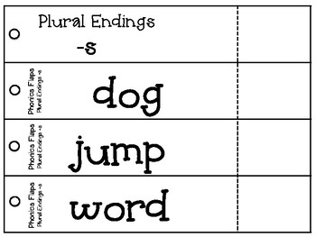 Phonics Flaps- Inflectional Ending -s (plural)