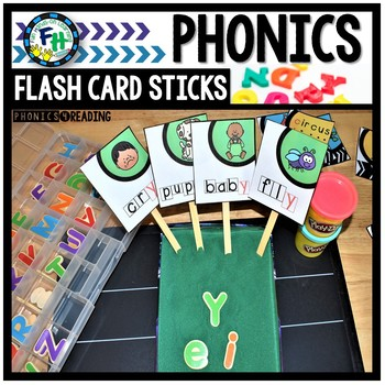 Phonics Flash Card Sticks (Soft C & G and Y as a Vowel)