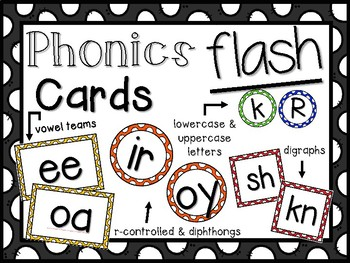 Phonics Flash Cards- Letters, Digraphs, Vowel Teams, R-Controlled & Dipthongs