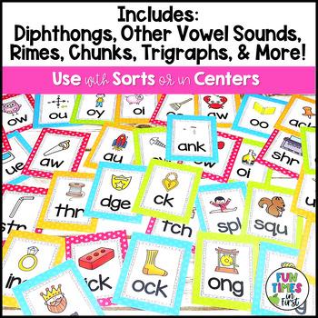 Phonics Flash Cards~ Bright Polka Dot Theme