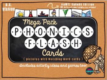 Phonics Flash Cards Vowel Sounds Mega Pack {U.S. Version}