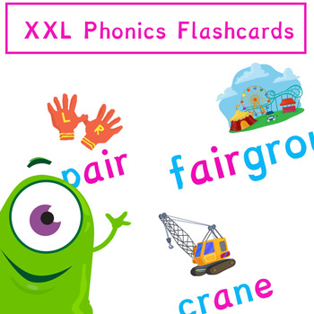 Phonics Flashcards Posters with Pictures and Words XXL Size | Phonics Resources