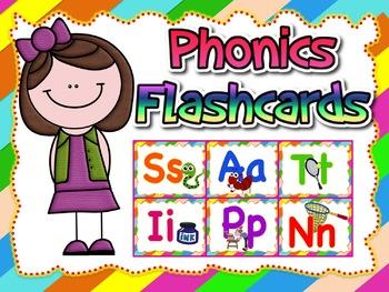 Phonics Flashcards (Jolly Phonics or any phonics program)