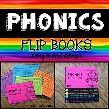 Long vowels A and I | Phonics Flip Book | Long Vowel Activities