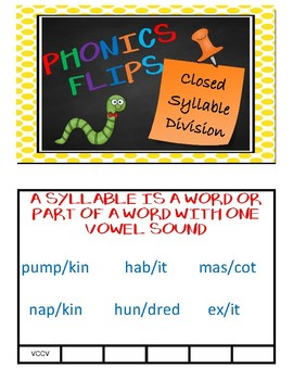 Phonics Flips - Closed Syllable Division