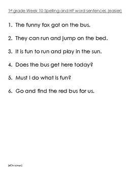 Phonics Fluency Fun-Journeys 1st Gr. Lesson 10--Spelling and H.F.Word Activities