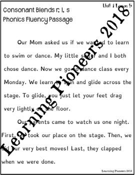 Phonics Fluency Passage Consonant Blends r, l, s