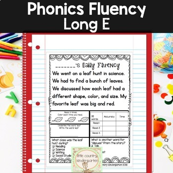 Reading Fluency Passages: Phonics Month of Long Vowel E: EA, EE, EY, IE