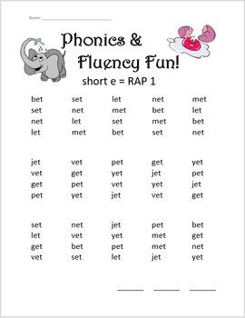 Phonics & Fluency Practice RAP Short e: Repeated Reading of CVC Words