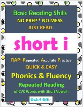 Phonics & Fluency Practice RAP Short i: Repeated Reading of CVC Words