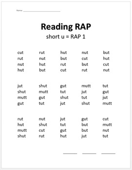Phonics & Fluency Practice RAP Short u: Repeated Reading of CVC Words