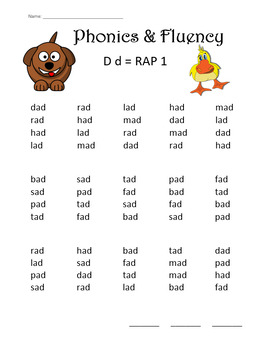 phonics fluency practice rap the letter d repeated reading of words