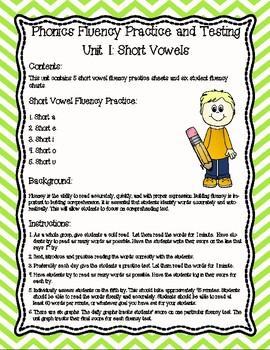 Phonics Fluency Practice and Assessments-Unit 1 Short Vowels