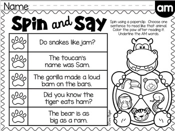 Phonics Fluency Printables ~ Short Vowels Word Families