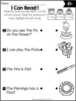 Phonics Fluency Read and Match (Blends)