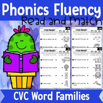 Phonics Fluency Read and Match (CVC Word Families)