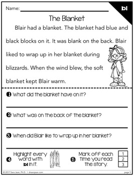 Phonics Fluency Reading Comprehension Passages and Questions • Blends