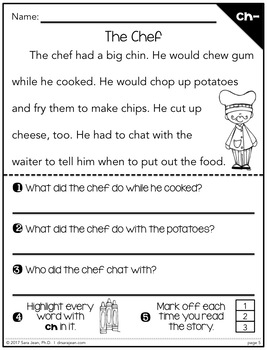 Phonics Fluency Reading Comprehension Passages and Questions • Digraphs