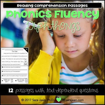 Phonics Fluency Reading Comprehension Passages and Questions • Diphthongs