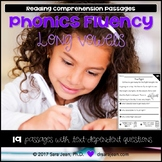 Long Vowels Worksheets Phonics Fluency Passages Reading Comprehension