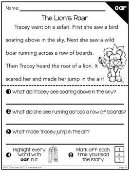 Phonics Fluency Reading Comprehension Passages & Questions • R-Controlled Vowels