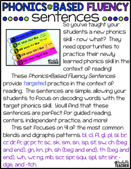 Phonics Fluency Sentences - Blends and Digraphs Edition