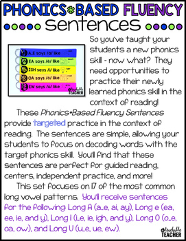 Phonics Fluency Sentences - Long Vowel Edition