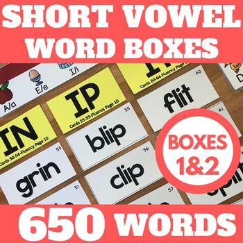 Phonics Fluency-Word Study Boxes-Short Vowel Bundle-A Reading Intervention