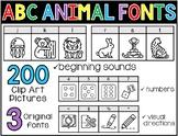 Phonics Fonts: ABC Animals - 3 Beginning Sound Picture Fonts