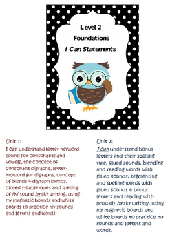 Phonics- Foundational Skills I CAN Statements - Level II