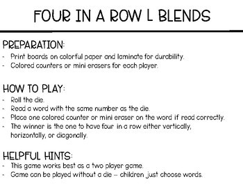 Phonics Four in a Row: L Blends
