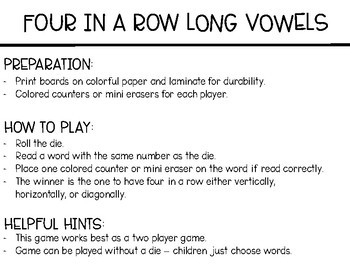 Phonics Four in a Row: Long Vowels