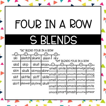Phonics Four in a Row: S Blends