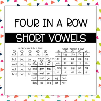 Phonics Four in a Row: Short Vowels