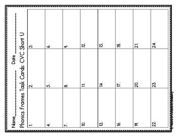 Phonics Frames Task Cards: CVC Short U Set