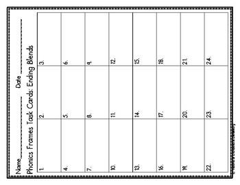 Phonics Frames Task Cards: Ending Blends Set