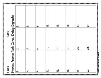 Phonics Frames Task Cards: Ending Digraphs Set