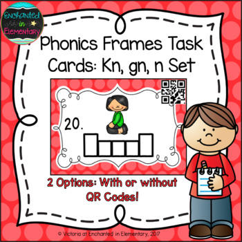Phonics Frames Task Cards: Kn, gn, and n Set