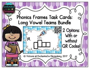 Phonics Frames Task Cards: Long Vowel Teams Bundle