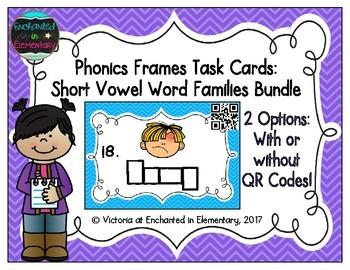 Phonics Frames Task Cards: Short Vowel Word Families Bundle
