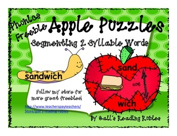 Phonics Freebie Apple Puzzles Segmenting  2 Syllable Words