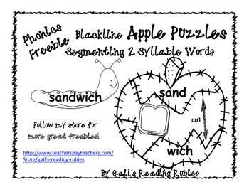 Phonics Freebie Blackline Apple Puzzles Segmenting 2 Syllable Words