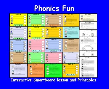 Phonics Fun, Interactive Smartboard Lesson and Printables for Kinder