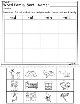Phonics Fun: Short e Activities